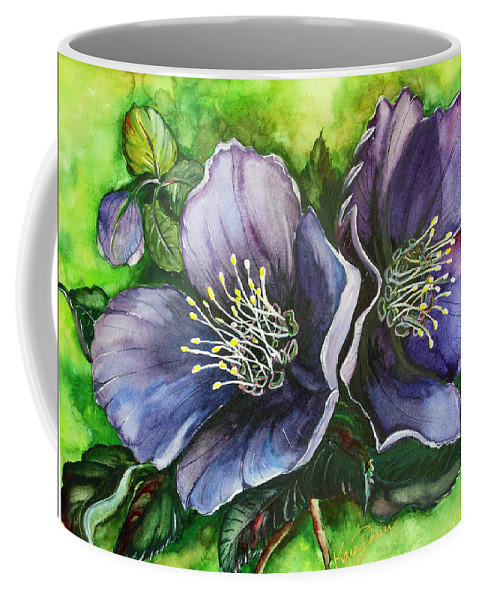 Flower Painting Botanical Painting Original W/c Painting Helleborous Painting Coffee Mug featuring the painting Helleborous Blue Lady by Karin Dawn Kelshall- Best