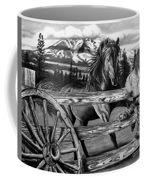 Hello Girl Coffee Mug featuring the drawing Hello Girl by Peter Piatt