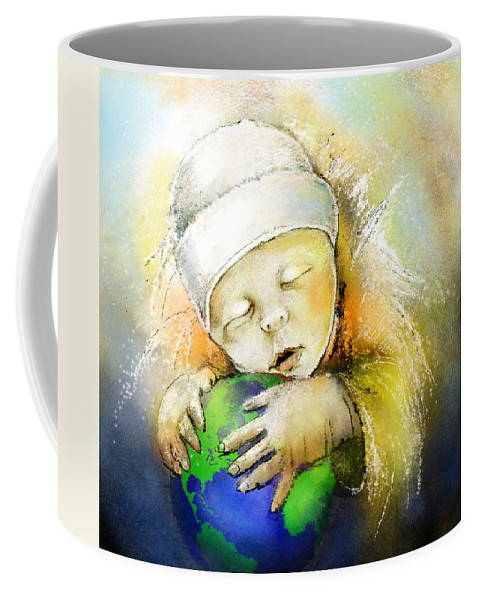 Baby Coffee Mug featuring the painting Hello World by Miki De Goodaboom