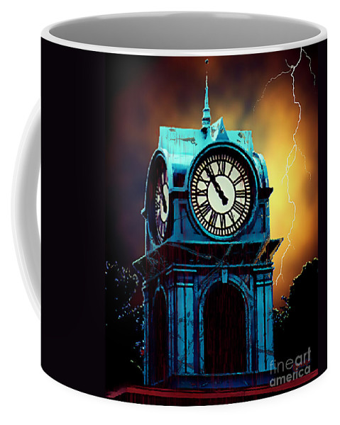 Blood Coffee Mug featuring the painting Hells Timeclock by RC DeWinter