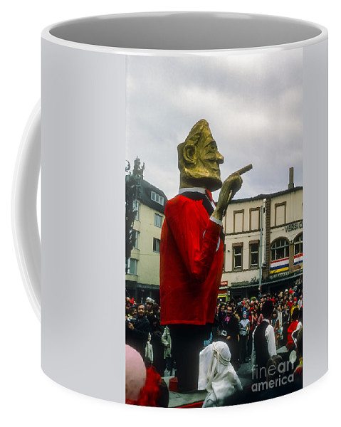 Rosenmontag Parade Mainz Germany Float Floats People Person Persons Creature Creatures Festival Festivals Helmut Schmidt Caricature Caricatures Coffee Mug featuring the photograph Helmut Schmidt by Bob Phillips