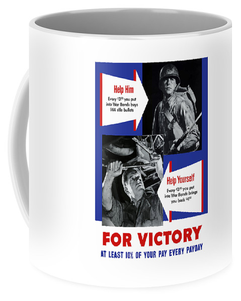 World War Ii Coffee Mug featuring the painting Help Him Help Yourself by War Is Hell Store