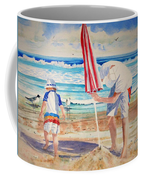 Beach Coffee Mug featuring the painting Helping Dad Set Up The Camp by Tom Harris