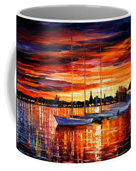 Afremov Coffee Mug featuring the painting Helsinki - Sailboats At Yacht Club by Leonid Afremov