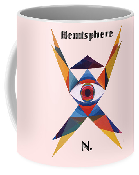 Painting Coffee Mug featuring the painting Hemisphere N. text by Michael Bellon