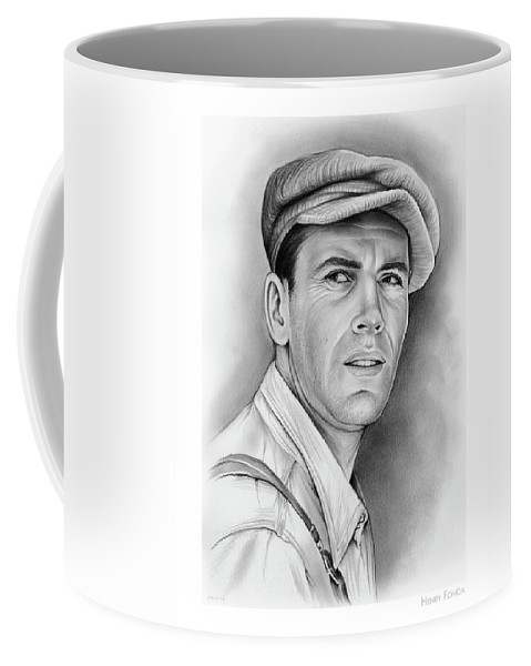 Henry Fonda Coffee Mug featuring the drawing Henry Fonda by Greg Joens
