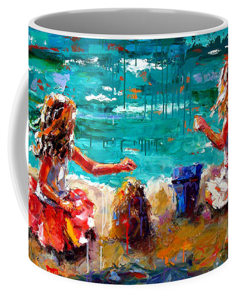 Seascape Coffee Mug featuring the painting Her Blue Bucket by Debra Hurd
