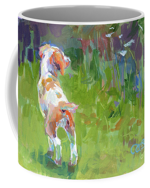 Brittany Spaniel Coffee Mug featuring the painting Her First Point by Kimberly Santini