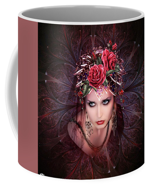 Fractal Coffee Mug featuring the mixed media Her Light And Beauty So Fair 02 by G Berry