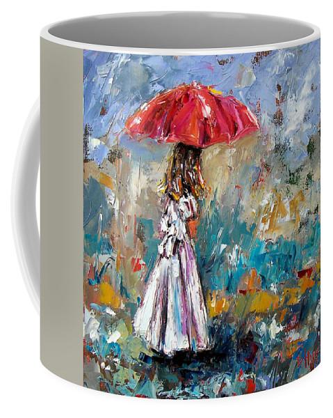 Children Art Coffee Mug featuring the painting Her White Dress by Debra Hurd