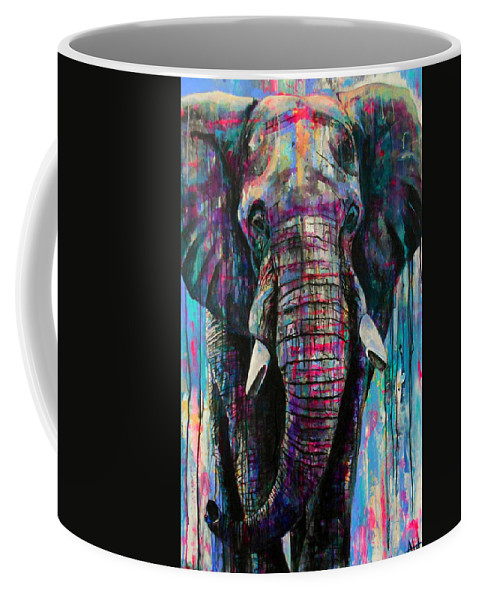 Elephant Coffee Mug featuring the painting Herculean by Angie Wright