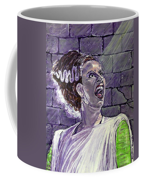 Bride Of Frankenstein Universal Monsters 1935 Elsa Lanchester Boris Karloff 1935 Hollywood Jonathan Morrill Johnny In Monsterland Provincetown Lesbian Charles Laughton Turner Classic Movies Los Angeles 2015 80th Anniversary Coffee Mug featuring the painting Here Comes The Bride by Jonathan Morrill