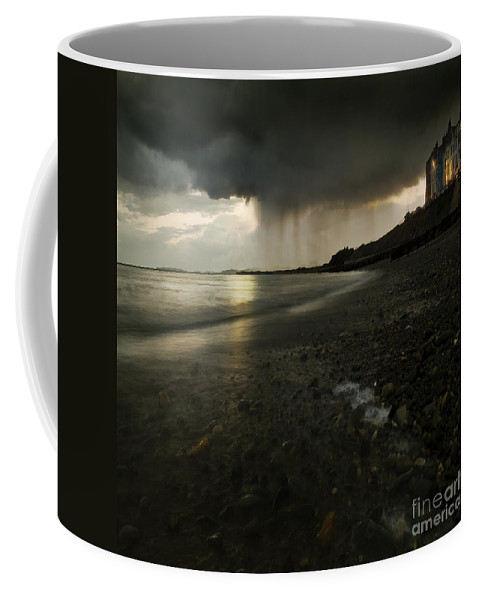 Beach Coffee Mug featuring the photograph Here Comes The Rain by Angel Ciesniarska
