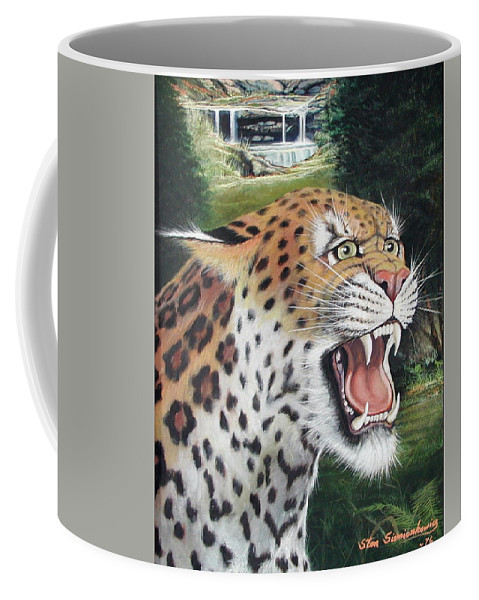 Wildlive Coffee Mug featuring the painting Here Kitty Kitty by Stan Siemionkowicz