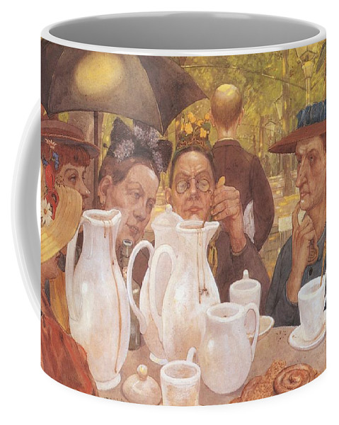 Painting Coffee Mug featuring the painting Here The Family Can Make Coffee by Mountain Dreams