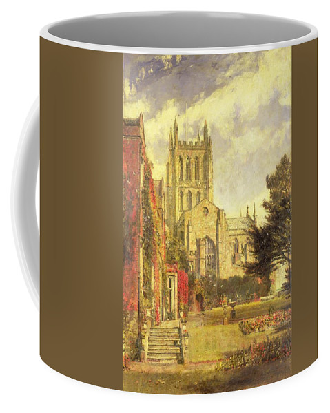 Hereford Coffee Mug featuring the painting Hereford Cathedral by John William Buxton Knight