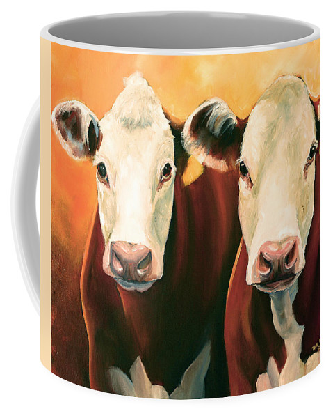 Cows Coffee Mug featuring the painting Herefords by Toni Grote