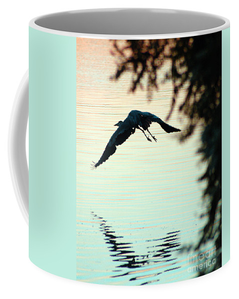 Clay Coffee Mug featuring the photograph Heron At Dusk by Clayton Bruster