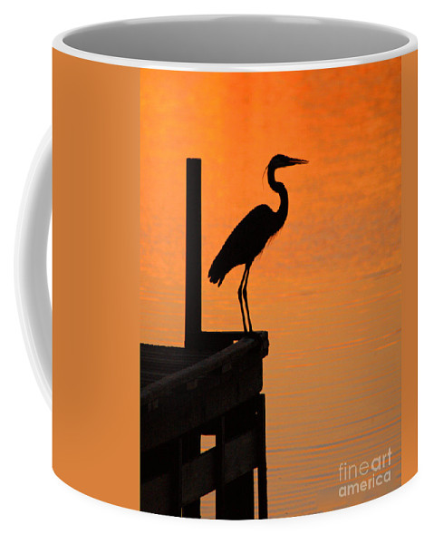 Clay Coffee Mug featuring the photograph Heron At Sunset by Clayton Bruster