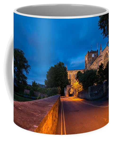 Northumberland Coffee Mug featuring the photograph Hexham Abbey At Night by David Head
