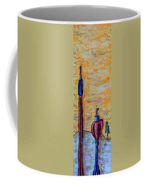 Sun Coffee Mug featuring the painting Hey Man, You're Kinda Blocking My Sun by Mario MJ Perron
