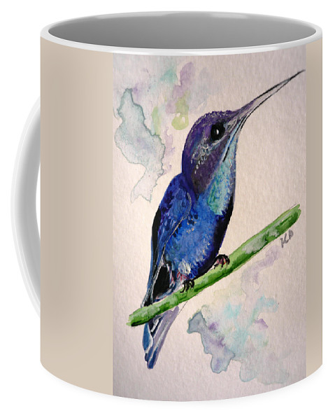 Hummingbird Painting Bird Painting Tropical Caribbean Painting Watercolor Painting Coffee Mug featuring the painting hHUMMINGBIRD 2  by Karin Dawn Kelshall- Best