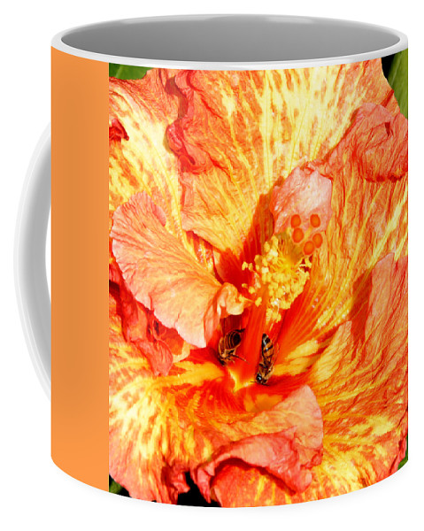 Bees Coffee Mug featuring the photograph Hibiscus And Bees by Anthony Jones