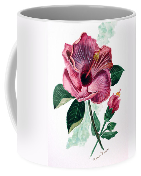 Flora Painting L Hibiscus Painting Pink Flower Painting Greeting Card Painting Coffee Mug featuring the painting Hibiscus Dusky Rose by Karin Dawn Kelshall- Best