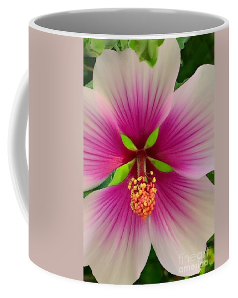 500 Views Coffee Mug featuring the photograph Hibiscus Face by Jenny Revitz Soper