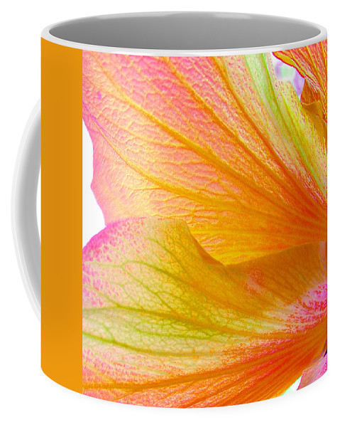 Macro Coffee Mug featuring the photograph Hibiscus Petals by Ruth Palmer