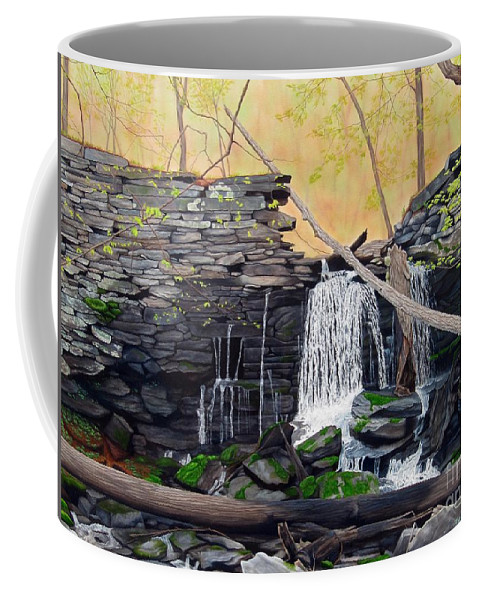 Waterfall Coffee Mug featuring the painting Hidden Sanctuary by Heidi Parmelee-Pratt
