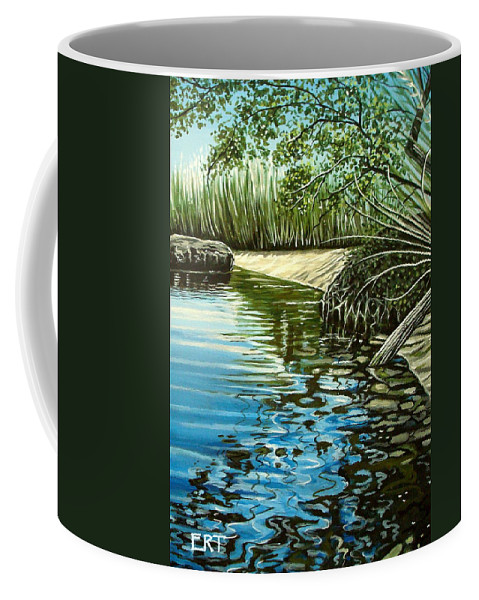 Nature Coffee Mug featuring the painting Hidden Beach by Elizabeth Robinette Tyndall