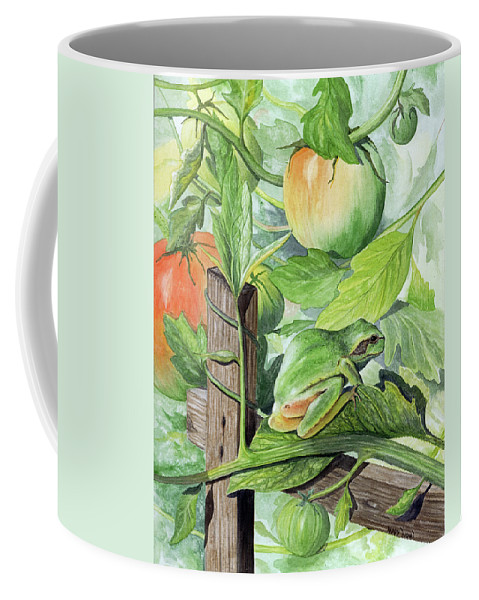 Frog Coffee Mug featuring the painting Hidden II by Mary Tuomi