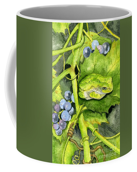 Frog Coffee Mug featuring the painting Hidden IIi by Mary Tuomi