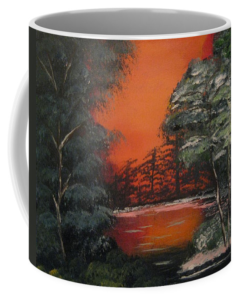 #landscape Coffee Mug featuring the painting Hidden Lake by Deanne Bossell