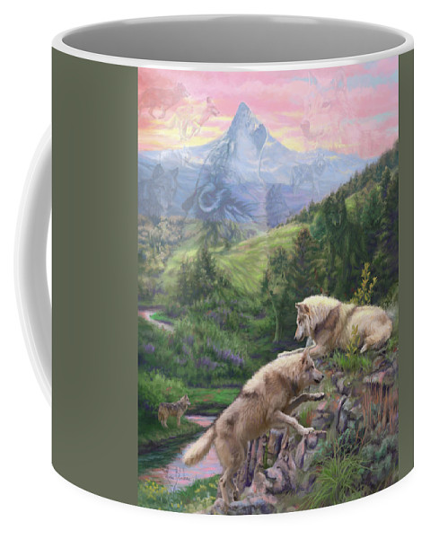 Wolf Coffee Mug featuring the painting Hidden Wolves by Lucie Bilodeau