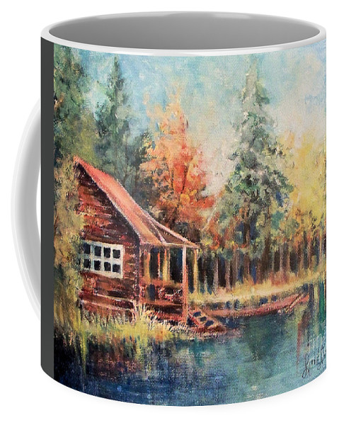 Cabin Autumn Lake Bank Fishing Hideout Coffee Mug featuring the painting Hide Out Cabin by Linda Shackelford