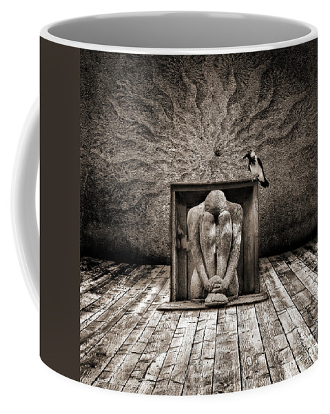 Dark Coffee Mug featuring the digital art Hiding by Jacky Gerritsen