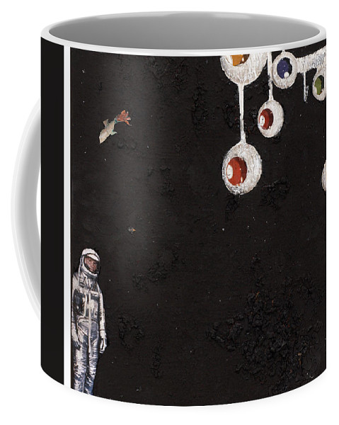 Spaceman Coffee Mug featuring the mixed media High Above Him There by Jaime Becker