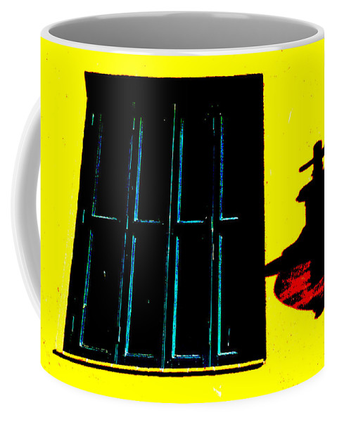 Santa Fe Coffee Mug featuring the photograph High Contrast Window And Lamp by Stacy Gold