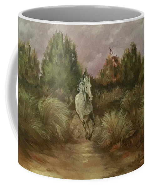 White Spotted Horse Running In The High Desert  Horse Coffee Mug featuring the painting High Desert Runner by Charme Curtin