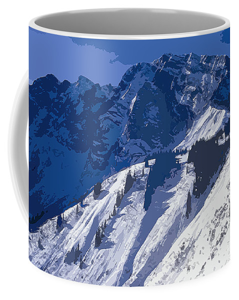 Bavarian Alps Germany Mountain Mountains Snow Winter Digital Art Snowscape Snowscapes Landscape Landscapes Coffee Mug featuring the photograph High In The Bavarian Alps by Bob Phillips