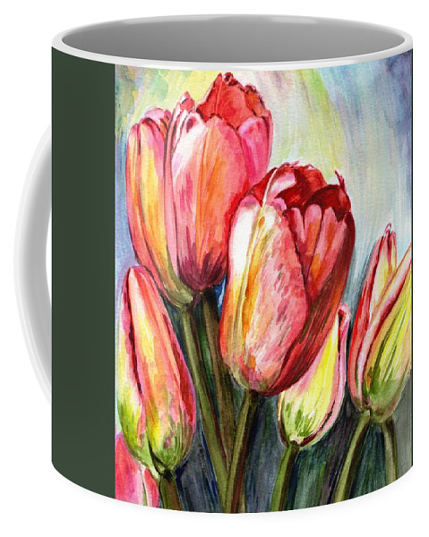 Tulips Coffee Mug featuring the painting High In The Sky by Harsh Malik