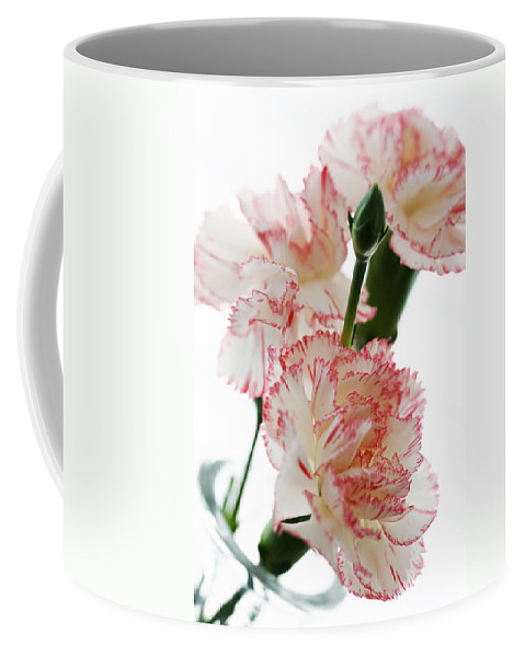High Coffee Mug featuring the photograph High Key Pink And White Carnation Floral by Kathy Clark