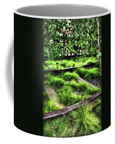 Botanical Coffee Mug featuring the digital art High Line Nyc Railroad Tracks by Joan Minchak
