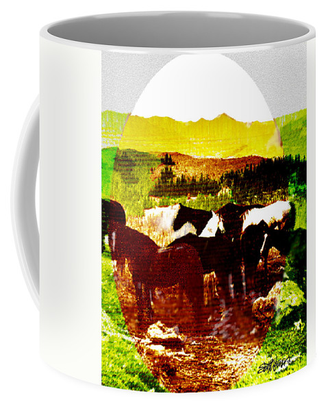 Mustangs Coffee Mug featuring the digital art High Plains Horses by Seth Weaver