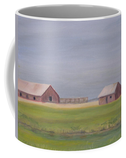 Landscape Plains Barn Coffee Mug featuring the painting High Plains by Patricia Caldwell