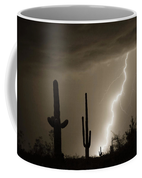 Lightning Coffee Mug featuring the photograph High Southwest Desert Lightning Strike by James BO Insogna