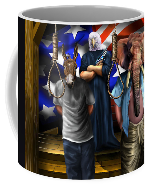 Obama Coffee Mug featuring the painting High Treason - State Of The Union-a House Divided1 by Reggie Duffie