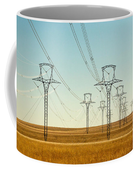 High Voltage Coffee Mug featuring the photograph High Voltage Power Lines by Todd Klassy